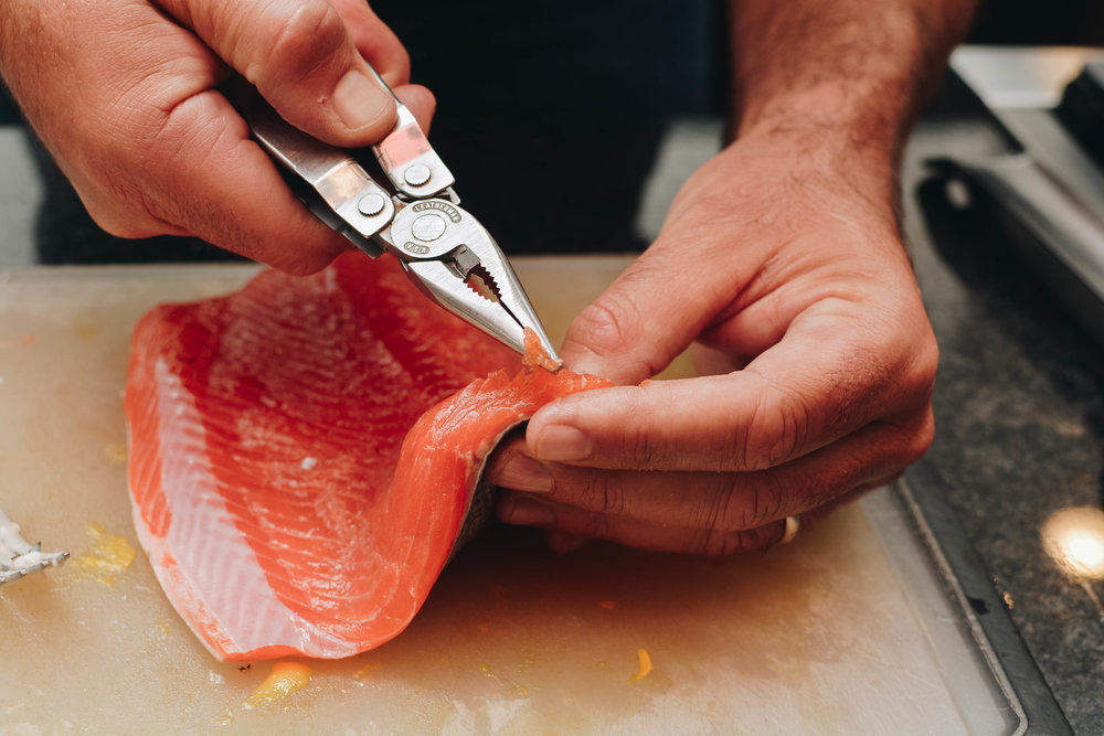 I like to make sure my fish is completely boneless. With many pin bones, salmon can be challenging. Needle nose pliers usually work well.