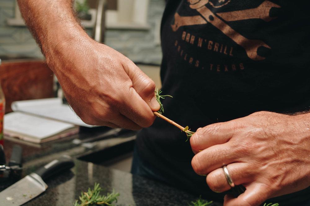 stripping rosemary