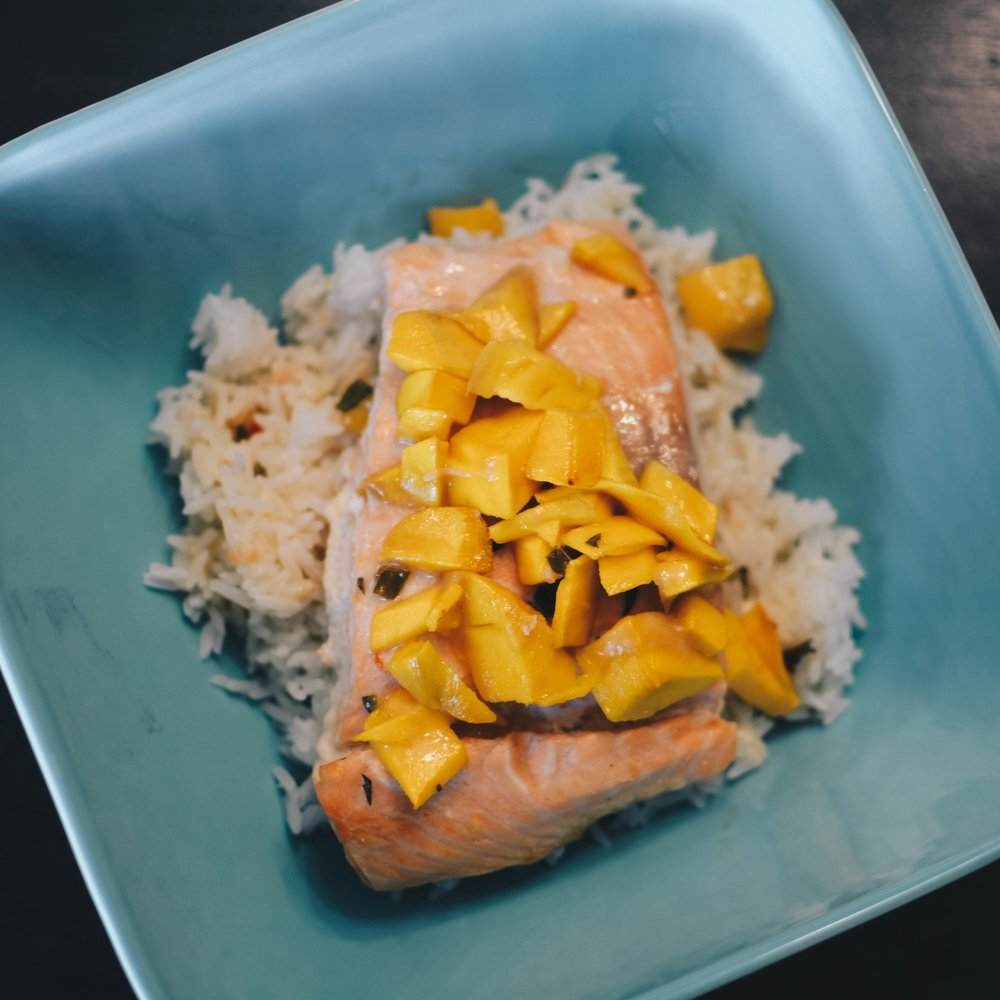 salmon mangoes coconut milk