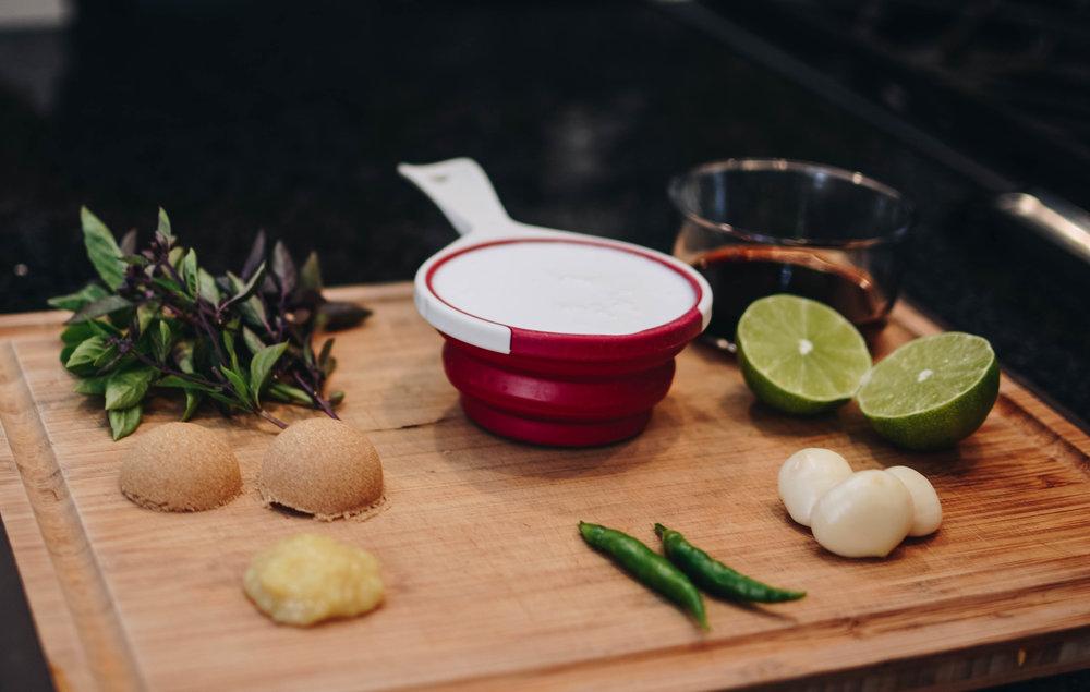 thai basil cocnut milk limes garlic