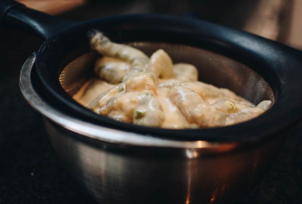 shrimp in strainer