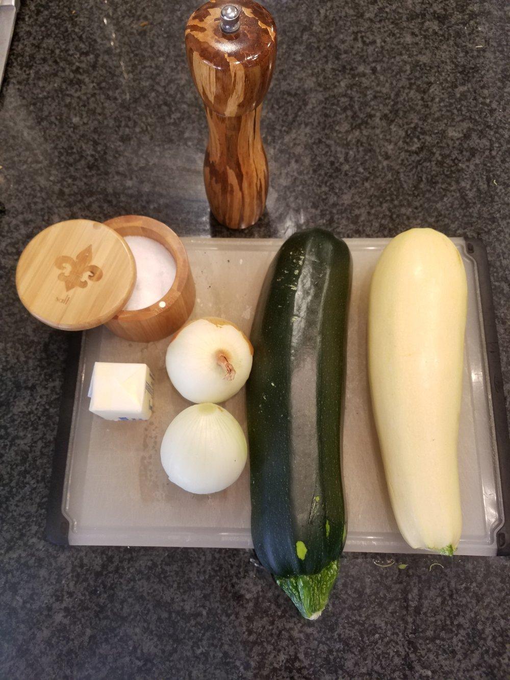 butter zuchinni and onions