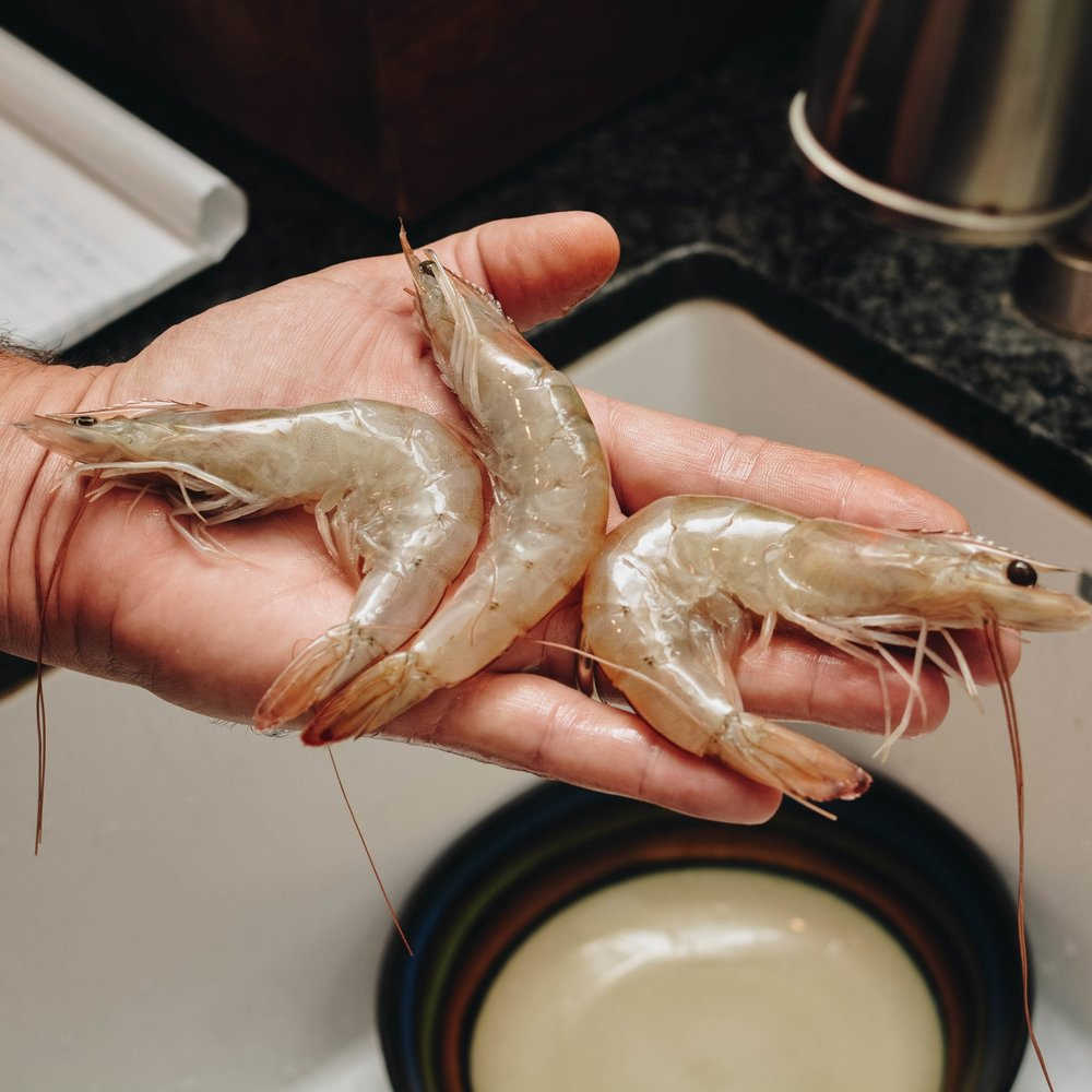peeling whole shrimp
