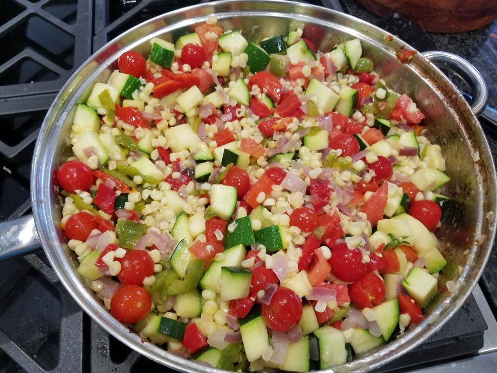 squash tomatoes onion garlic corn bell peppers cheese cream
