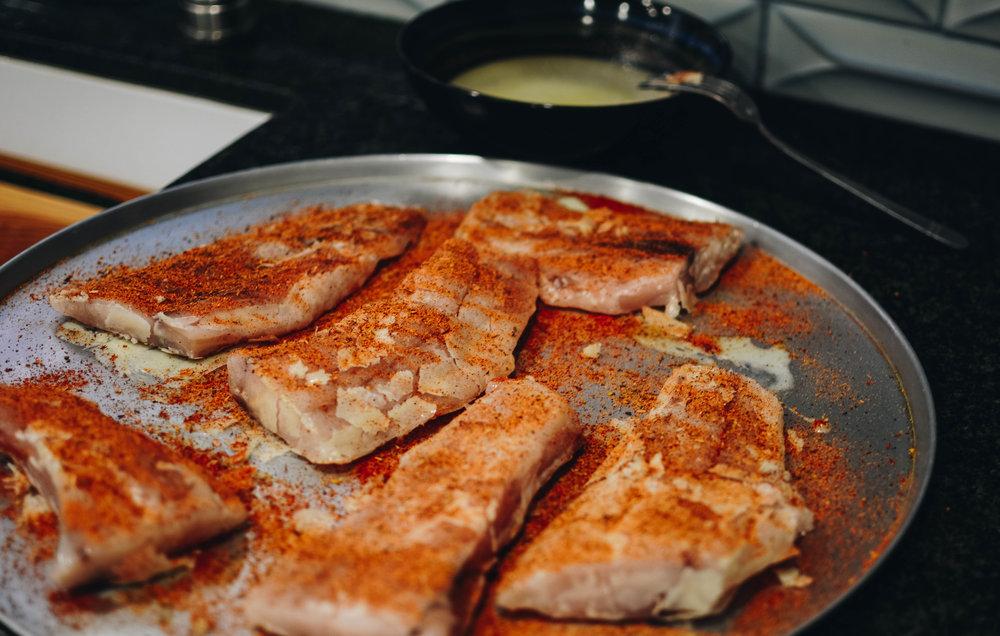 spice rubbed fish
