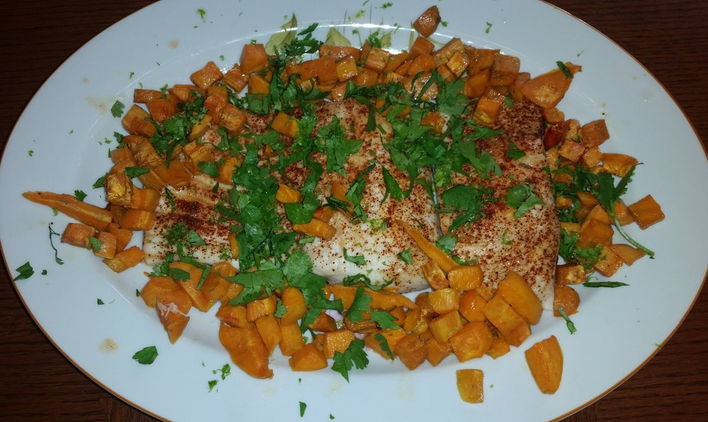 Paiche with Sweet Potatoes and Cilantro.