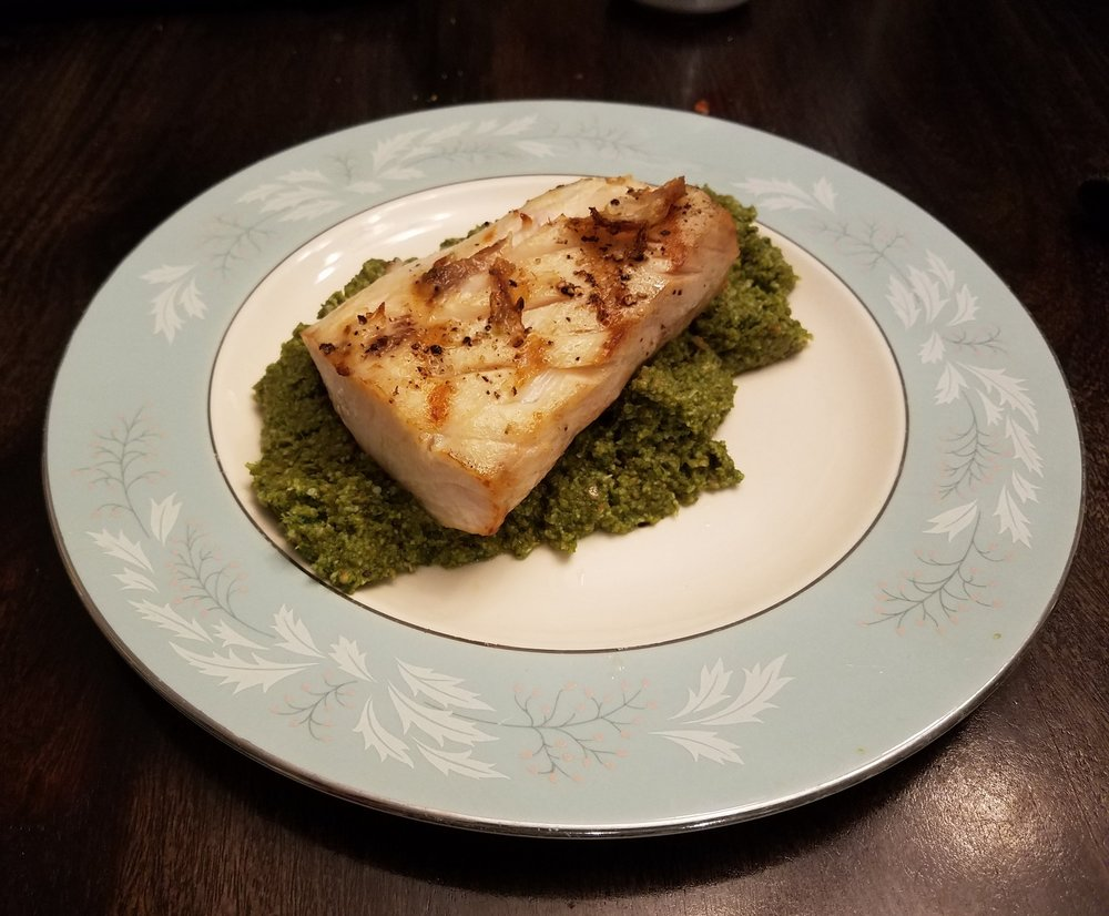 Cobia with pesto