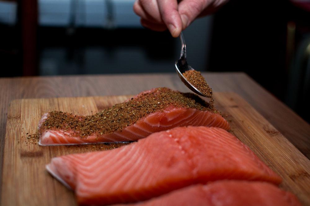 salmon rub spoon