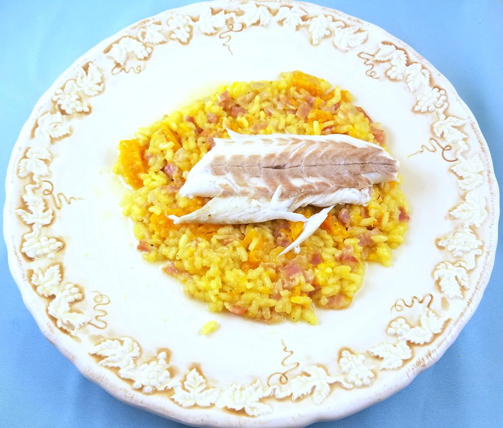 Butternut squash risotto with a beautiful Branzino fillet on top