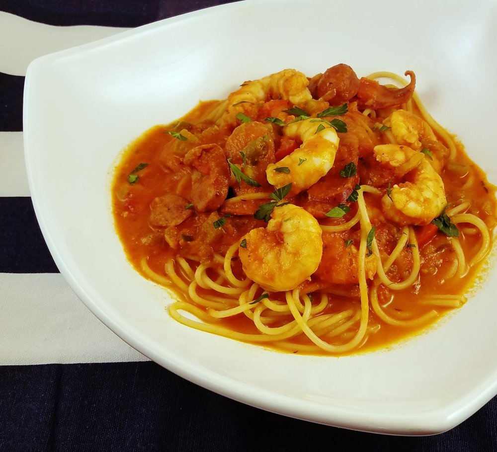 Shrimp sausage pasta
