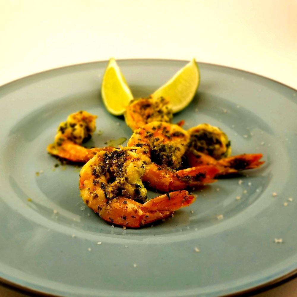 butterflied shrimp with jalapeno and cilantro