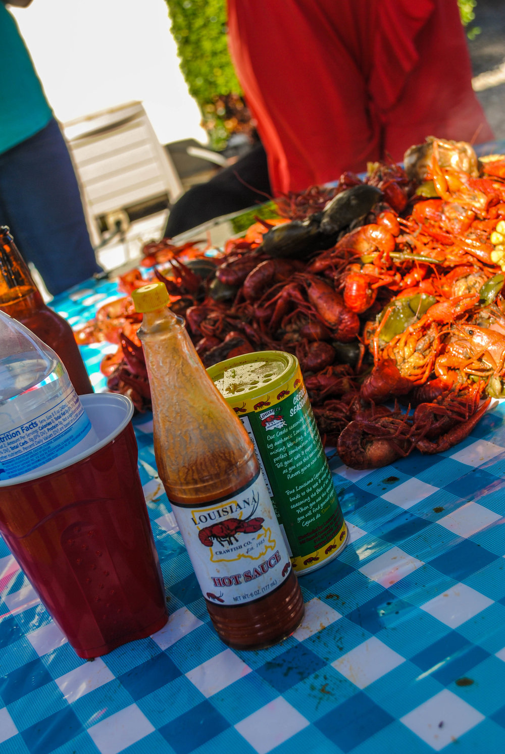 crawfish and louisiana hot sauce