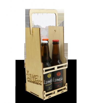 Darčekové balenie – drevený nosič na 4Fľ. - 3,50€