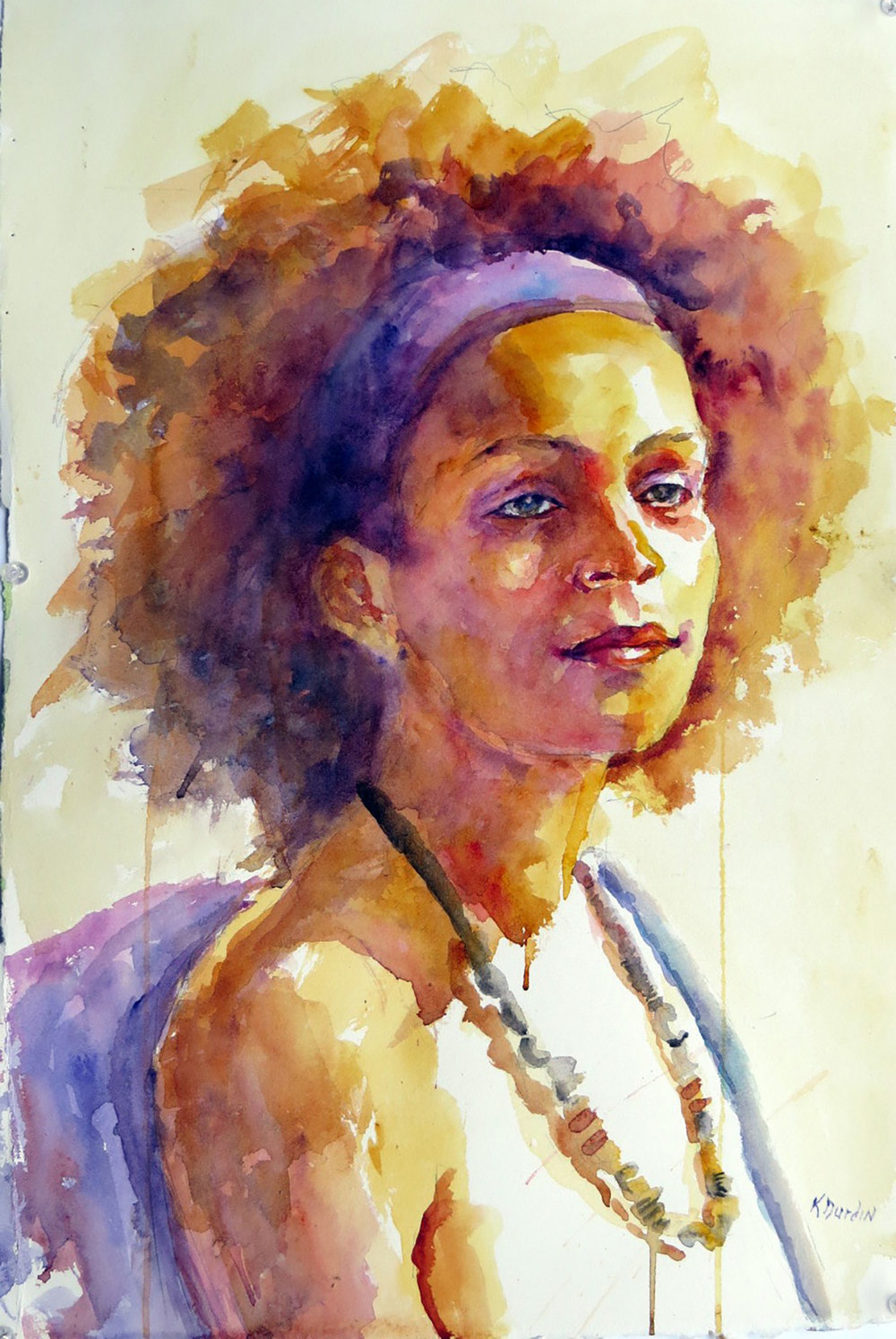 Christina in Purple, Tallahassee Watercolor Society 2016 Tristate -- First Place
