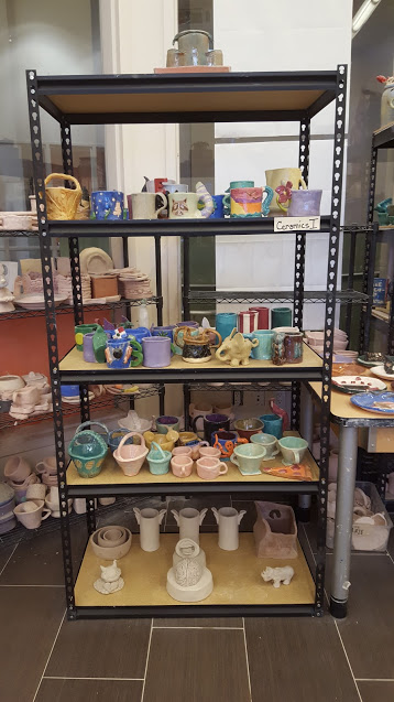 Williamsburg Charter High School Ceramic Studio Display Rack. Artwork by various Ceramics 1 students. Photo by Seth Failla.jpeg