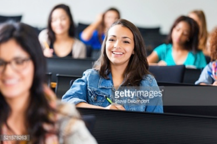 SCENE 3 - Shows another girl taking notes, reading, interacting with the class and teacher... engaged!