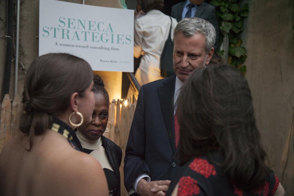Mayor Bill de Blasio lends his support to Monica Klein & Elana Leopold of Seneca Strategies