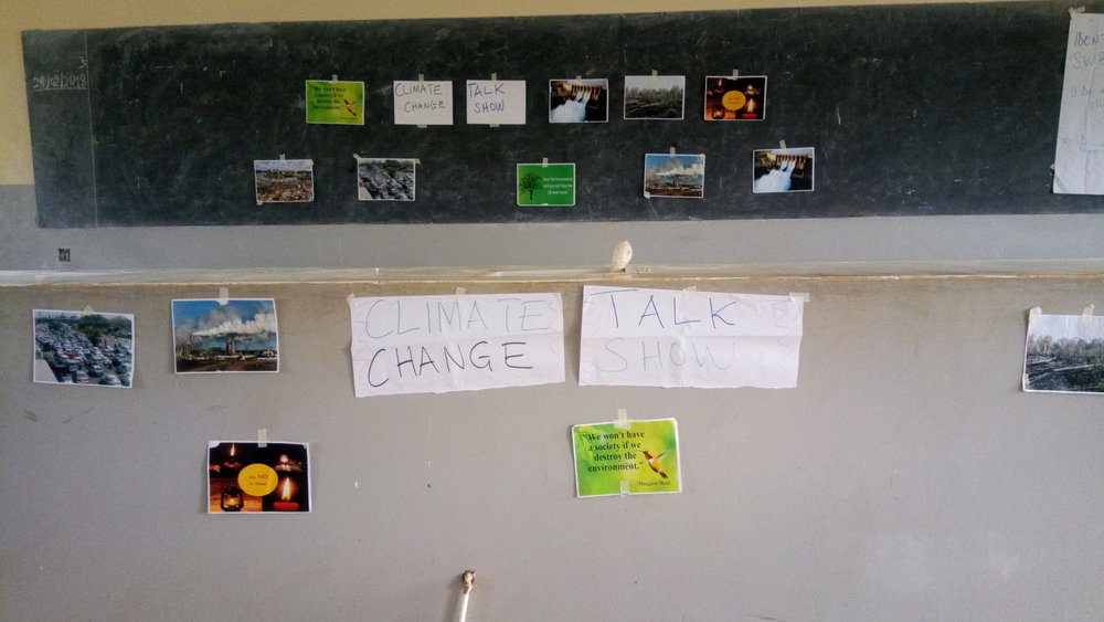 Setting up for the Climate Change talk show in Lesson 1