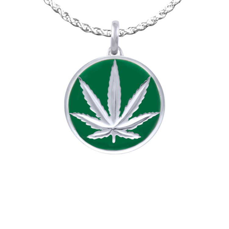 Sativa marijuana leaf pendant with chain sterling silver w green sativa marijuana leaf pendant with chain sterling silver w green enamel 18mm aloadofball Image collections