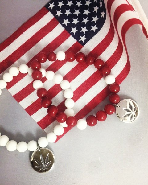 Celebracelet #independenceday in true #freedom #fashion by showing support to #endprohibition! #oneleafatatime 8mm #patriotic #beads with #sterling silver leaf charm for only $39.95 Email your #specialorder to info@geniferm.com  #womenwhogrow #womenofweed #womeninweed #legalizeit #cannabis #cannabiz #mmj #classycannabis