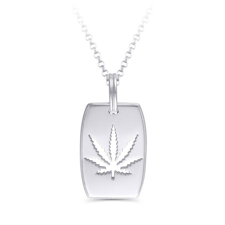 Sativa marijuana leaf dog tag pendant sterling silver aloadofball Gallery