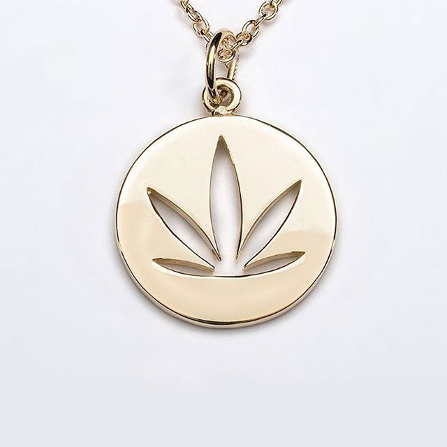 Our #Modern #Leaf Cutout Disc #Pendant with chain in 14kt Yellow #Gold. #womenofweed #starttheconversation #cannabiz #cannapreneur #cannactivist #jewelry #womeninweed .