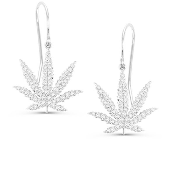 Let people know you're listening and sparkle in the conversation while igniting ideas! Our #Sativa Leaf Shepherd Hook #Earrings in #14kt #WhiteGold #Diamond Pave are a guaranteed conversation starter. #starttheconversation #oneleafatatime 