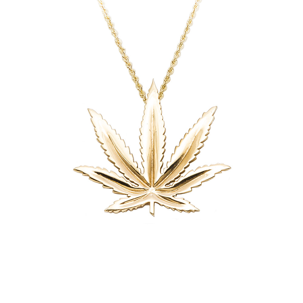 Sativa marijuana leaf pendant 14kt yellow gold aloadofball Image collections
