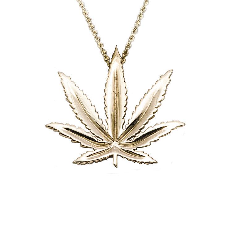 Sativa marijuana leaf pendant 14kt yellow gold aloadofball Image collections