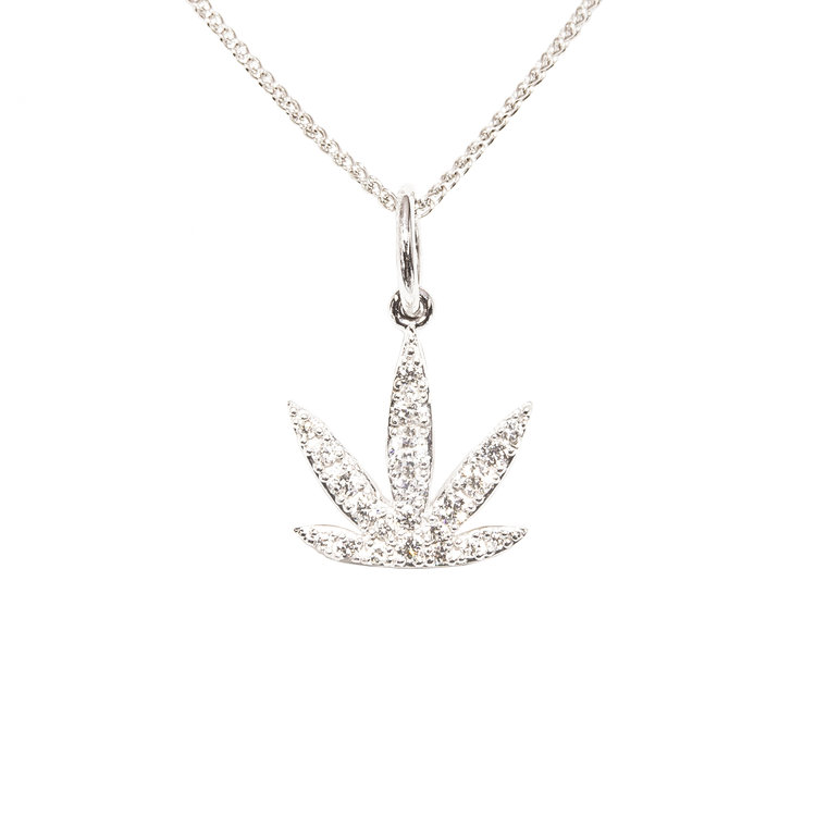 Modern leaf diamond pav pendant 14kt white gold aloadofball Gallery