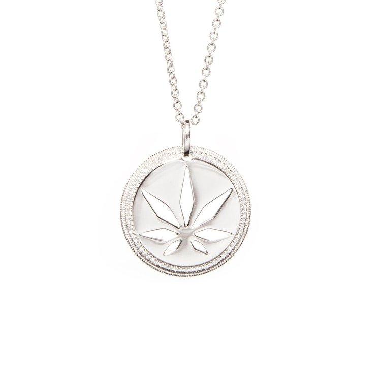 Genifer m cut out disc micro pav diamond pendant sterling silver aloadofball Images