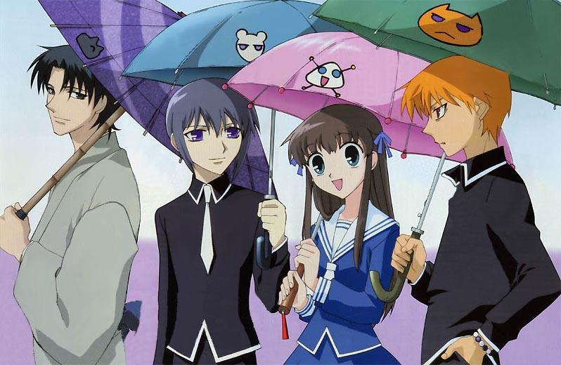 Left To Right: Shigure Sohma, Yuki Sohma, Tohru Honda, and Kyo Sohma