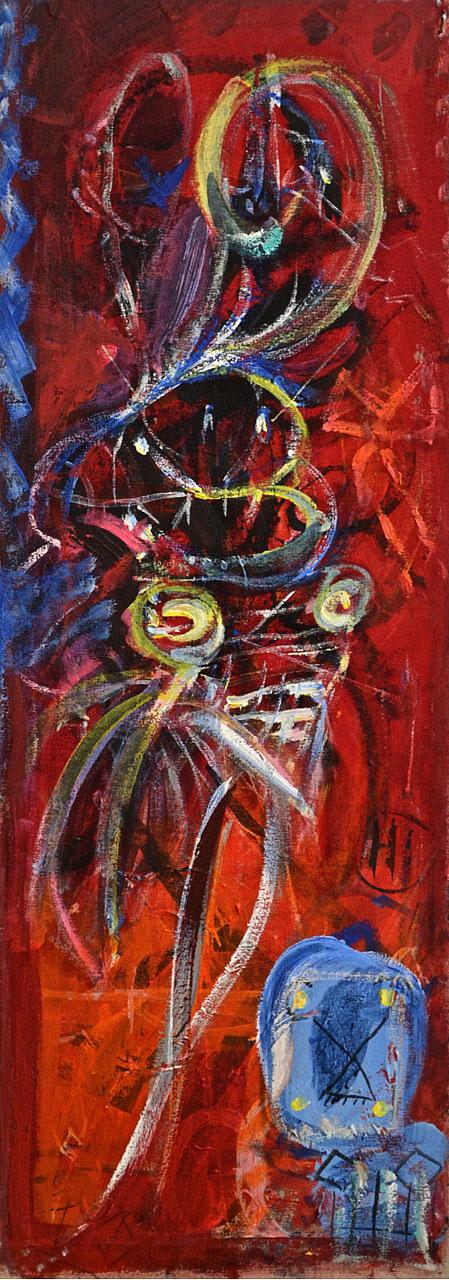 1984 Quartet 3, acrylic on canvas, 14 x 40