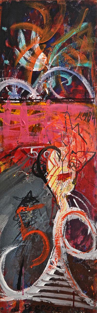 1984 Quartet 1, acrylic on canvas, 12 x 37
