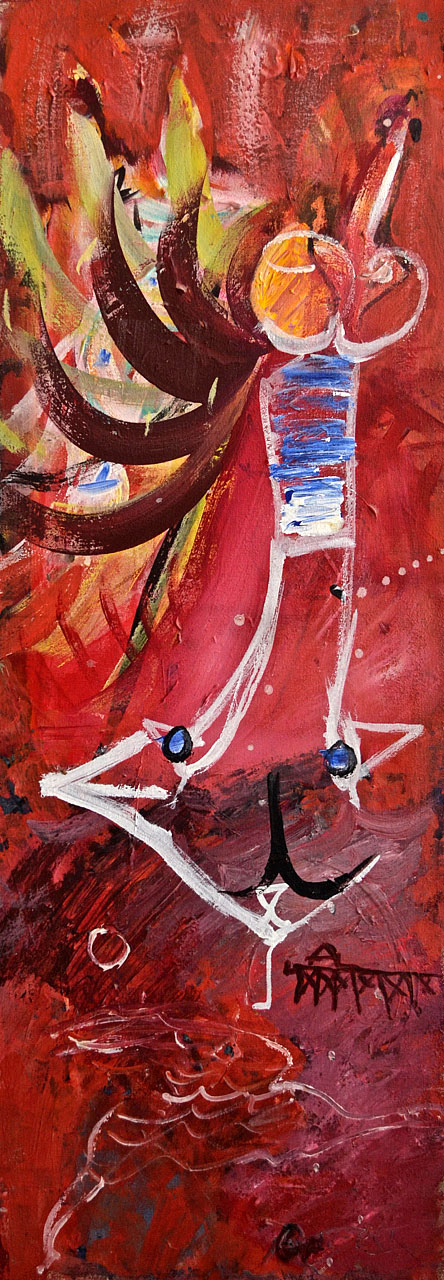 1984 Quartet 2, acrylic on canvas, 14 x 40