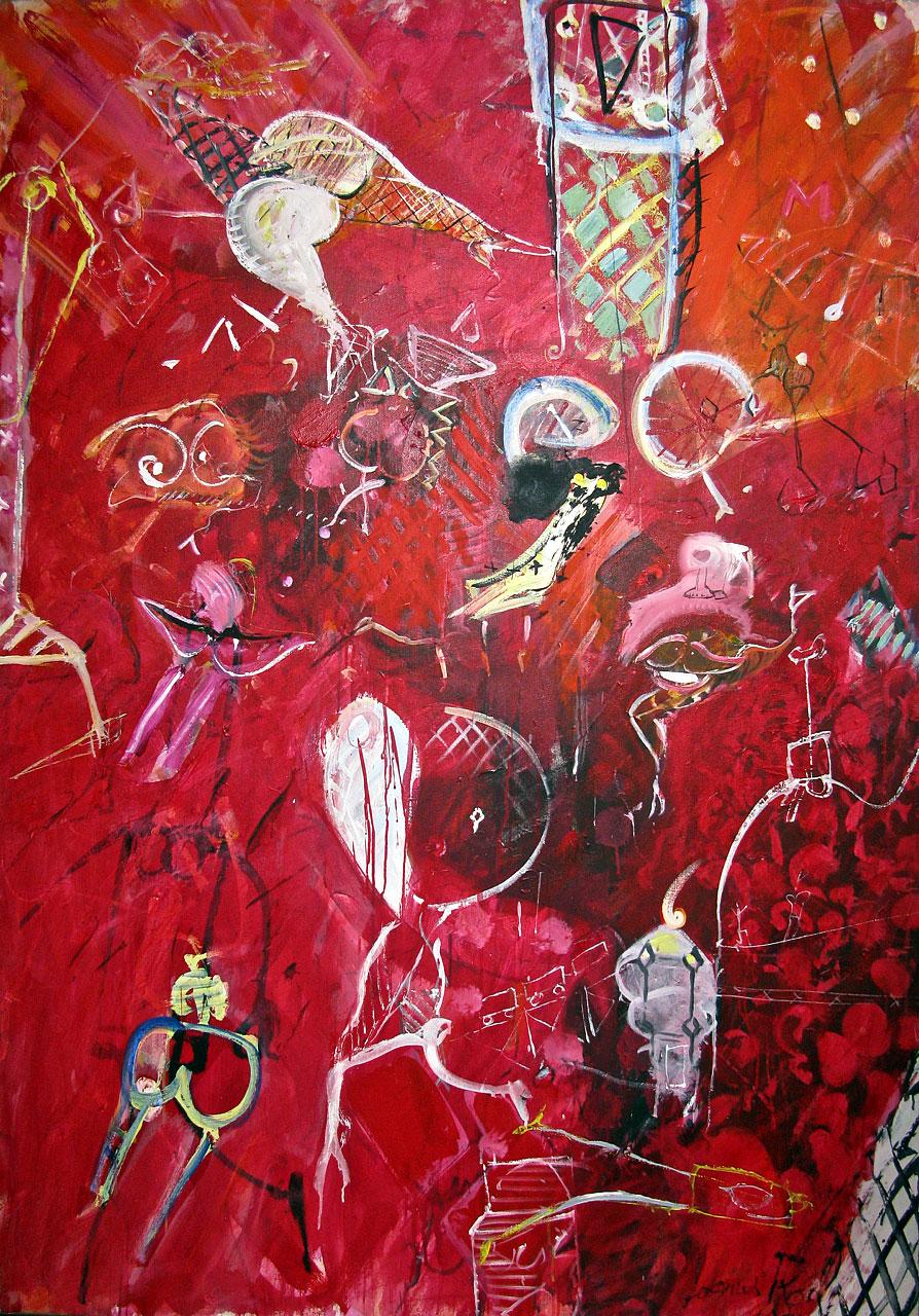 1984 Sous Le Regard De La Concierge, acrylic on canvas