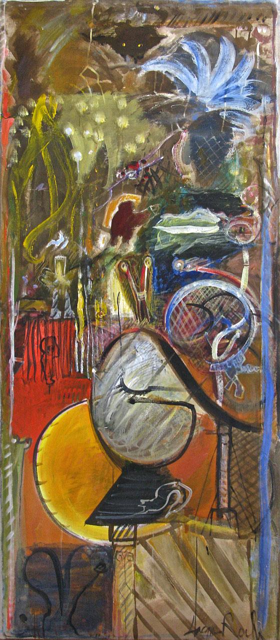 1985 On The Threshold, acrylic on canvas 29 x 68