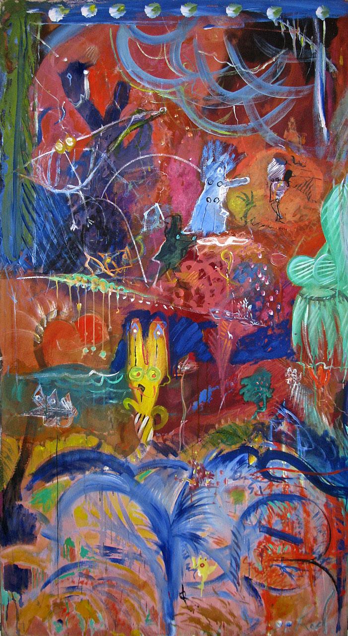 1986 Cicada My Love, acrylic on canvas, 44 x 78