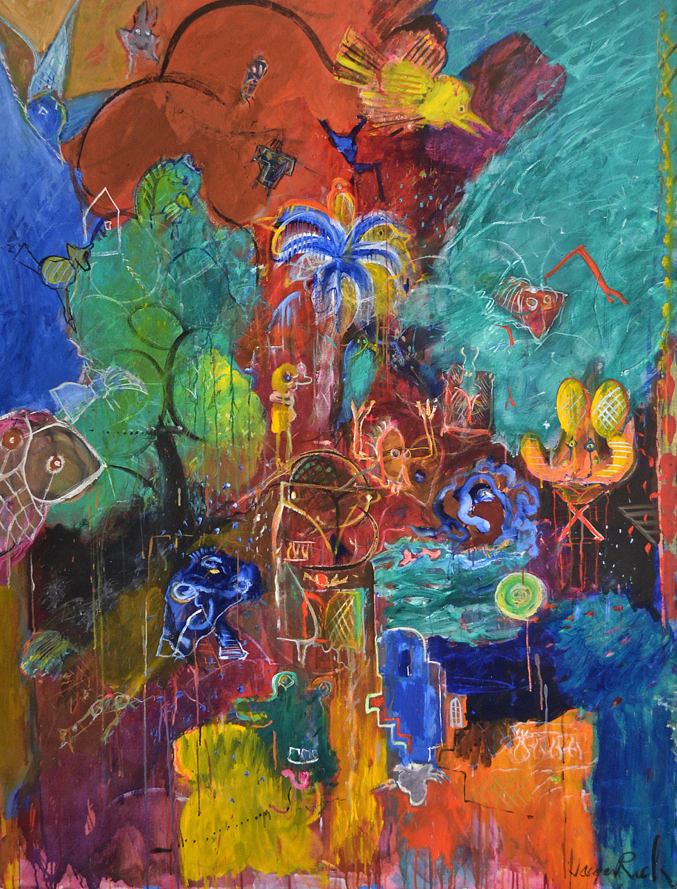 1986 Le Chant Du Crétois, acrylic on canvas, 55 x 72