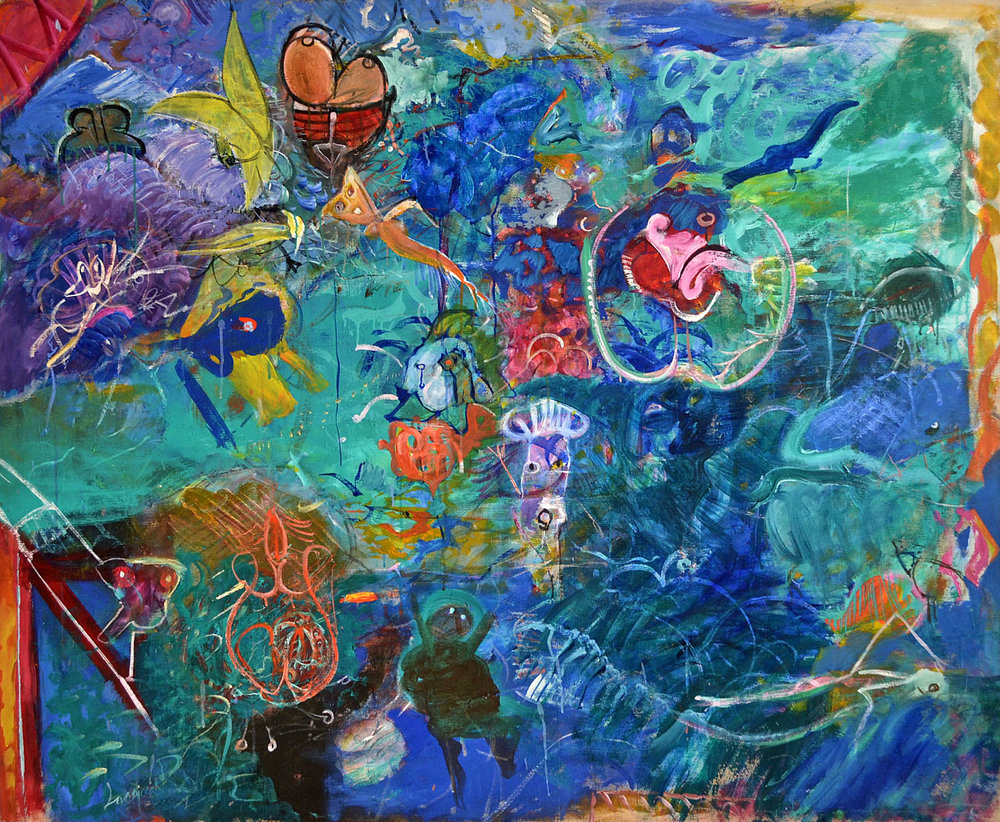 1986 The Kiss Of The Jellyfish, acrylic on canvas, 66 x 54 - DSC_0119.jpg.