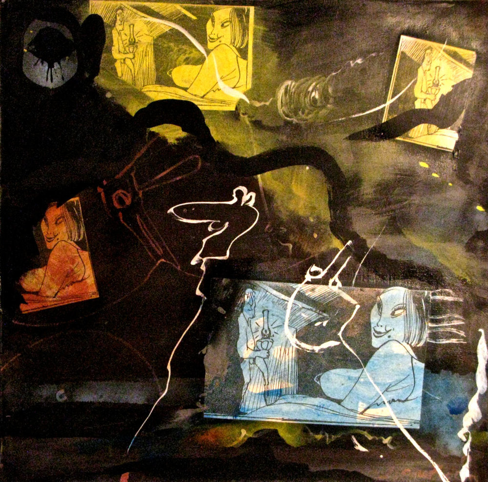 1989 L'Heure Du Loup, 30 x 30 acrylic on canvas