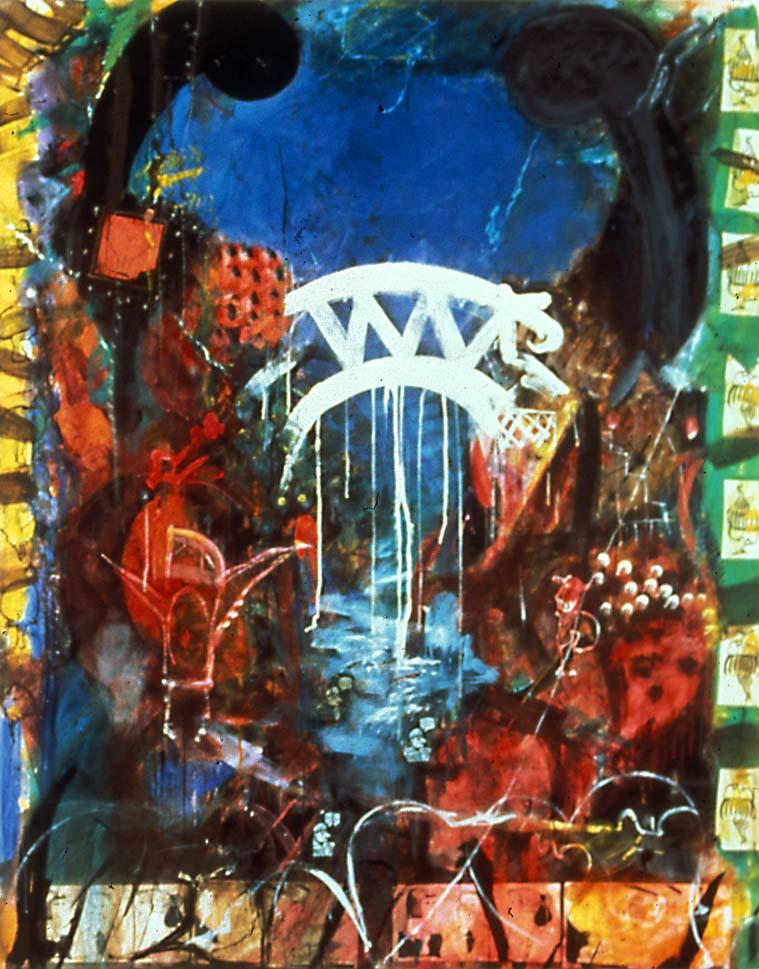 The Bridge, acrylic on canvas, 96x75inches. 1988