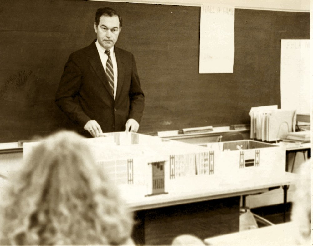 Mr. Jim Cox lecturing on legal strategy in the 1970's.