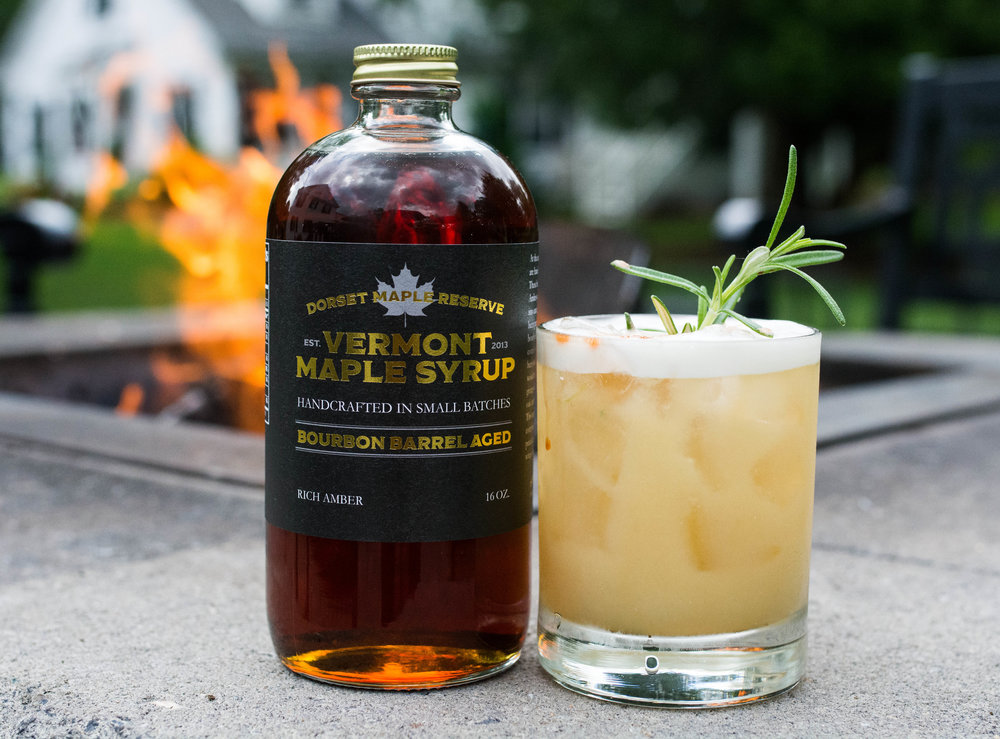 Rosemary Maple Sour - -muddle 1 sprig of rosemary-1 oz barrel aged maple syrup-1/2 oz fresh lemon squeezed-1 egg white (optional)-2  1/2oz makers mark bourbonShake vigorously and strain over ice. Garnish with fresh rosemary sprig.