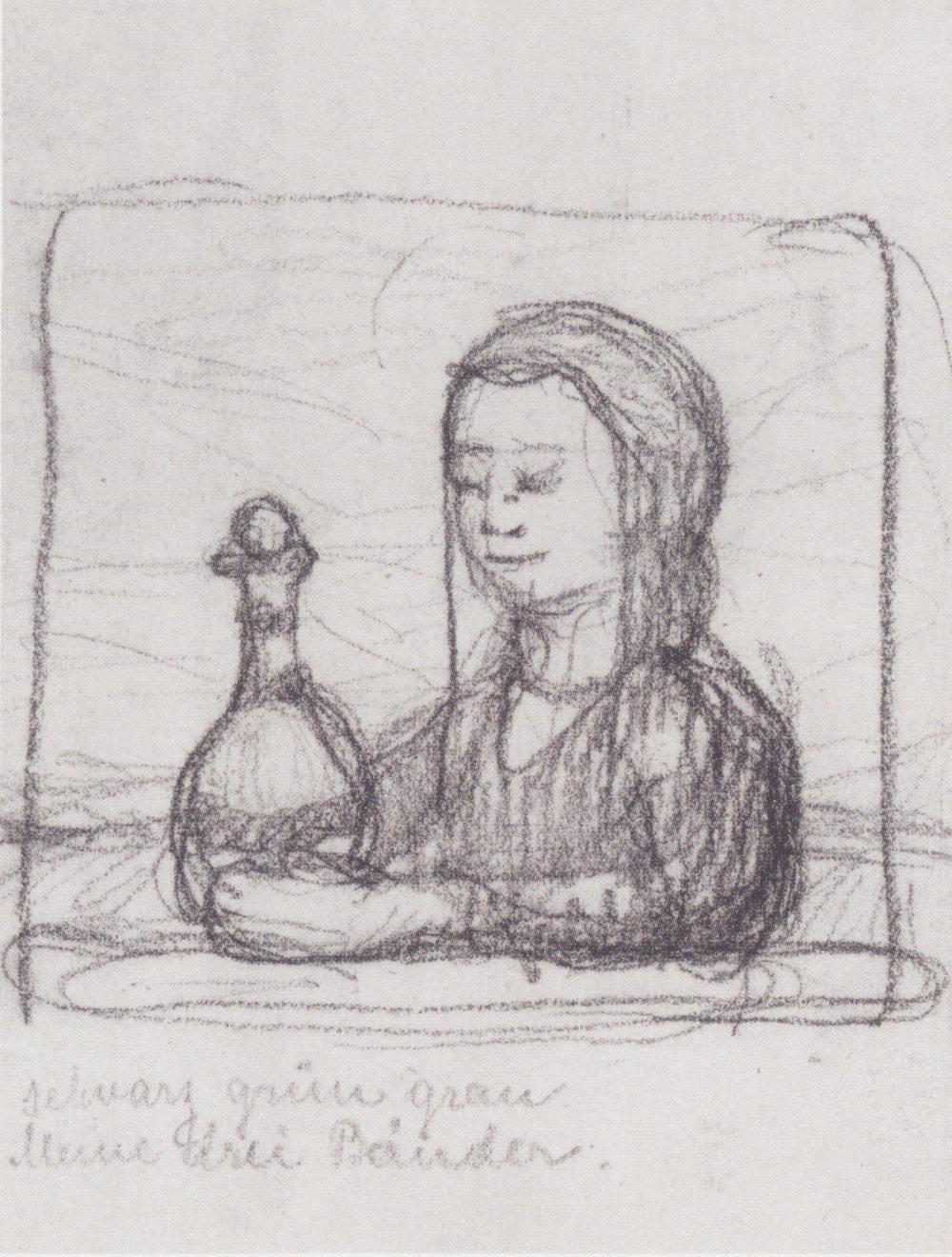 Paula Modersohn-Becker, Portrait of a Woman with a Pitcher (~1902).