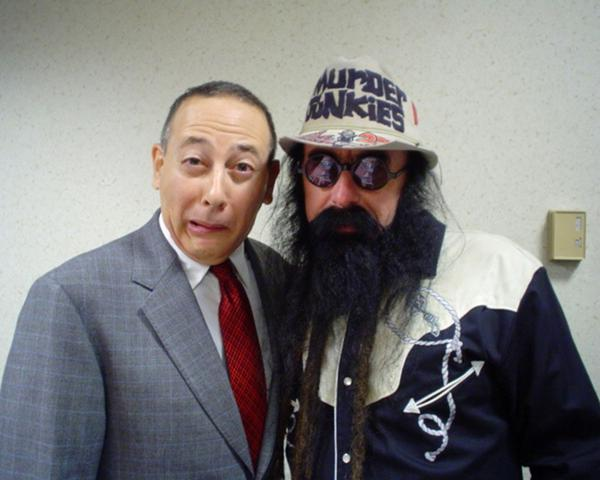 peeweesplayhouse: Pee-wee and Merle Allin (bass player of the Murder Junkies and brother of the late infamous shock rocker G.G. Allin)