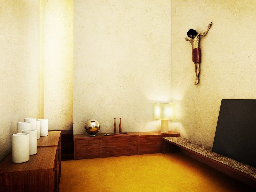 El cuarto del Cristo en  la Casa Luis Barragán .