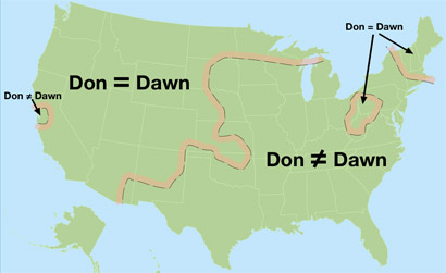 "mapsontheweb :     Regions of US which make no distinction between pronounciation of ""don"" and ""dawn"""