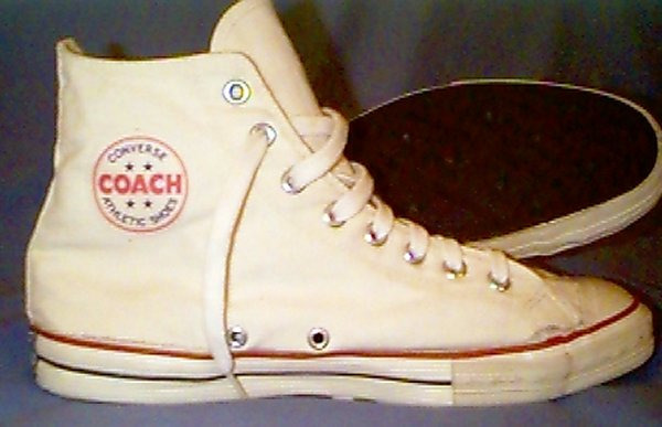 """In the 1970's, Converse had a line of athletic shoes designated by the sub-brand ""COACH."" Many were lower-priced versions of their flagship models, as can be seen below in the comparison of the ""Chuck Taylor"" All Star with its Coach equivalent.""   via  sneakers.pair.com"