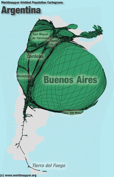 Worldmapper: Gridded Population Cartograms - Argentina